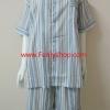 ชุดนอน(ช)กางเกงขาสั้น ผ้า Cotton เกรด เอ แบบลายริ้วสีน้ำตาล คอกลม ขนาดไซส์ XXL