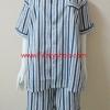 ชุดนอน(ช)กางเกงขาสั้น ผ้า Cotton เกรด เอ แบบลายสีน้ำเงิน+เทา คอกลม ขนาดไซส์ XXL