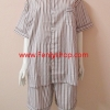 ชุดนอน(ช)กางเกงขาสั้น ผ้า Cotton เกรด เอ แบบลายริ้วโทนสีน้ำตาล คอกลม ขนาดไซส์ XXL