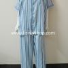 ชุดนอน(ช)กก.ขายาวแขนสั้น ผ้า Cotton เกรด เอ แบบลายสีเทาฟ้า+น้ำตาล คอกลม ขนาดไซส์ XXL