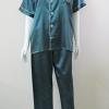 ชุดนอน(ช)กางเกงขายาวแขนสั้น ผ้าซาติน เกรด เอ สีเขียวเข้ม คอปก ขนาดไซส์ XXL สินค้าคุณภาพดี