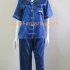 ชุดนอน(ญ)ผ้าซาตินแขนสั้นขายาวฟรีไซส์ สีน้ำเงินเข้ม คอปก
