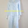 ชุดนอน(ญ)ผ้าซาตินกางเกงขายาวแขนยาว สีฟ้า เสื้อรอบอก 40 นิ้ว