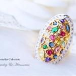แหวนพลอยนพเก้า หุ้มทองคำแท้ (ประดับเพชรCZ)