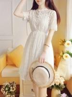 เดรสสีขาว ตัวนี้งานงามมมมมากค่า ลูกไม้ถักทั้งตัว ผ้าสวยมาก งานมีน้ำหนัก แบบสวม เอวสมอคยืด มีซับแยกชิ้นให้