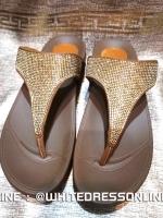 รองเท้าสุขภาพ หน้าเพชรเต็ม วิ๊งระดับ 10 คะคู่นี้ ออกงานงามมากมาย สีนำ้ตาลทอง นุ่มรับประกันจ้า
