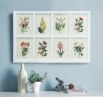 รูปพิมพ์แต่งผนัง ลายดอกไม้ 8 ช่อง Wall Decor Art Print 8 Flowers
