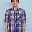 เสื้อเชิ้ตลายสก๊อต ผู้ชาย สีน้ำเงินแดง thumbnail 2