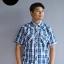 เสื้อเชิ้ตลายสก๊อตผู้ชาย สีน้ำเงิน แขนสั้น ไซส์ใหญ่ thumbnail 2