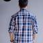 เสื้อเชิ้ตลายสก๊อต ผู้ชาย สีน้ำเงินส้ม ไซส์ใหญ่ thumbnail 2