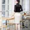 รหัส A53 เสื้อผ้าลูกไม้เนื้อดีแขนยาวสีดำ คอจับจีบตั้ง ตัดเย็บเรียบร้อยสวยเหมือนแบบ