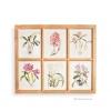 ภาพพิมพ์ลายดอกไม้สีชมพู 6 ช่อง กรอบไม้