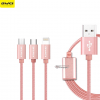 สายชาร์จ Awei CL-970 3in1 (Type C) Lighting (ios) & Micro USB (android) สีโรสโกลด์