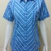 เสื้อลายสก๊อตแขนสั้น Patino Fashion สีฟ้า