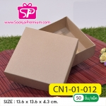 CN1-01-012 : กล่องฝาครอบ ขนาด 13.6 x 13.6 x 4.3 ซม. ไม่มีหน้าต่าง