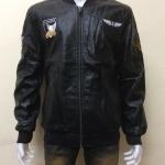 เสื้อแจ็คเก็ตหนังPU ปักอาร์ม สีดำ