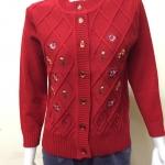 เสื้อไหมพรม กระดุมหน้า คอกลม สีแดง