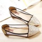 พร้อมส่ง รองเท้าส้นเตี้ย ไซสใหญ่ สี Gold ไซส์ 41 รหัส PP-bs-8144