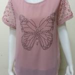 เสื้อคอกลมผ้าชีฟอง สีชมพู(กะปิ) BY Kut Katawetee