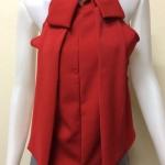 เสื้อแขนกุดคอเต่าผ้าชีฟอง สีแดง