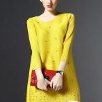 รหัส MN35 เสื้อสไตล์เกาหลีดีเทล ผ้าพลีทโพลีเอสเตอร์ พิมพ์ลายผ้าสีสด