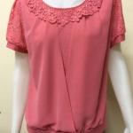เสื้อคอกลมผ้าเกาหลี สีชมพูเข้ม By NEW YA FAG