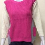 เสื้อกันหนาวไหมพรม คอกลม แบบสวม สีชมพู