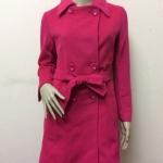 เสื้อโค้ทกันหนาวผ้าสักหลาด สีชมพูบานเย็น