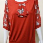 เสื้อคอกลมผ้าชีฟอง+ผ้าเกาหลี สีแดง By NEW YA FAG