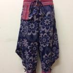 กางเกงผ้าพื้นเมืองภาคเหนือ ทรงสะกา สีกรมพิมพ์ลายดอก