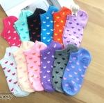 เซตถุงเท้า ลายหัวใจ สีผสม ( 6 คู่ ) คละสีได้