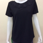 เสื้อคอกลมผ้าเกาหลี สีดำ BY UP & UP Size L