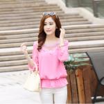 รหัส B131 เสื้อชีฟองสีชมพู ดีไซน์สวย ปักฉลุหน้าหลัง