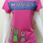 เสื้อยืดแขนสั้น mousy สีชมพู