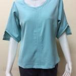 เสื้อคอกลมผ้าแฟชั่นฮานาเกะ Size 42 By PISTA สีฟ้าทะเล