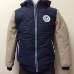 เสื้อแจ็คเก็ตกันหนาว มีฮู้ดดีไซน์สไตล์เกาหลี สีกรมแขนสลับสีครีม