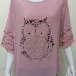 เสื้อคอกลมผ้าชีฟอง สีโอรส BY Kut Katawetee