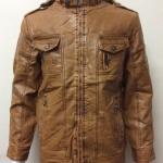 เสื้อแจ็คเก็ตหนัง PU สีน้ำตาล มีฮู้ด