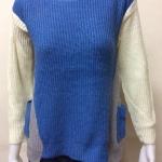 เสื้อกันหนาวไหมพรม คอกลม แบบสวม สีน้ำเงิน