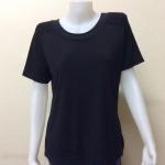 เสื้อคอกลมผ้าเกาหลี สีดำ BY UP & UP Size XL