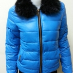 เสื้อแจ็คเก็ตกันหนาว มีฮู้ดแแต่งขนเฟอร์ สีฟ้า