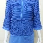 เสื้อผ้าลินินลูกไม้ปกเชิ้ต สีน้ำเงิน BY T&L