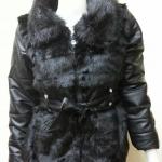 เสื้อแจ็คเก็ตกันหนาว แต่งขนเฟอร์สลับหนัง สีดำ