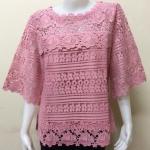 เสื้อผ้าลินินลูกไม้อย่างดี สีชมพูกลีบบัว Size 46