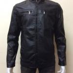 เสื้อแจ็คเก็ตหนัง PU สีดำ