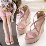 พร้อมส่ง รองเท้าแฟชั่น ส้นหนา สี Pink ไซส์ 39 รหัส PP- w-9853
