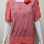 เสื้อคอกลมผ้าชีฟอง+ผ้ายืดเกาหลี สีชมพูบานเย็น By NEW YA FAG