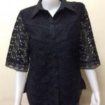 เสื้อผ้าลินินลูกไม้ปกเชิ้ต สีดำ Size 48