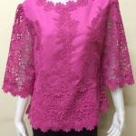 เสื้อผ้าลินินลูกไม้อย่างดี สีชมพูบานเย็น Size 44