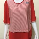 เสื้อคอกลมแฟชั่นแขนสามส่วน สีแดง By MEENA